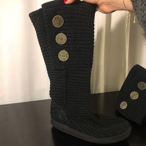 Black tall knit UGG Australia boots